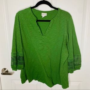 Ava & viv xxl green 3/4 sleeve top